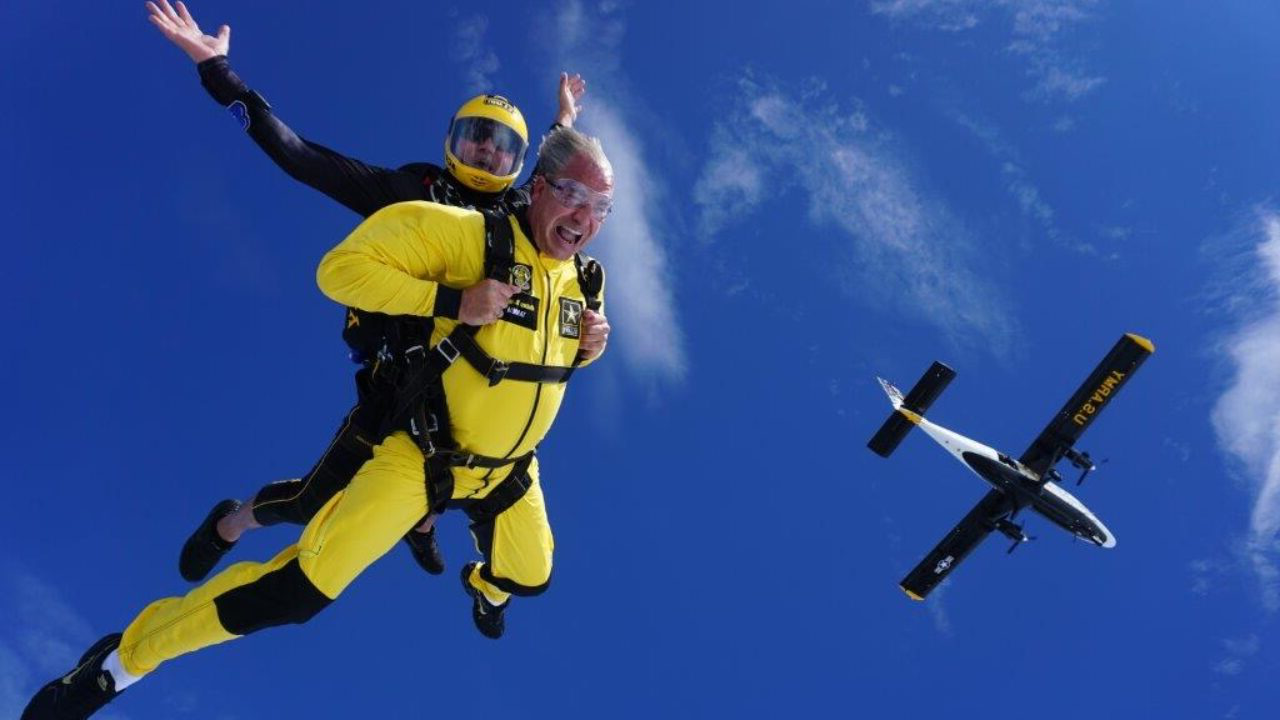 Luke Schultheis skydiving